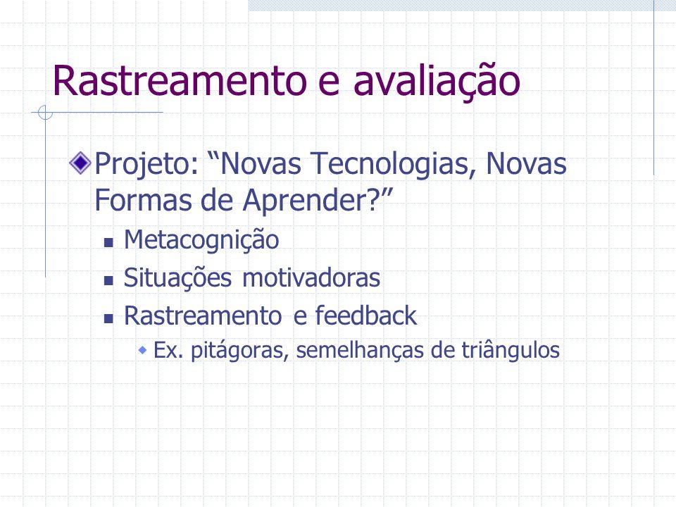 Rastreamento e avaliação Projeto: Novas Tecnologias, Novas Formas de Aprender? Metacognição Situações motivadoras Rastreamento e feedback Ex. pitágora
