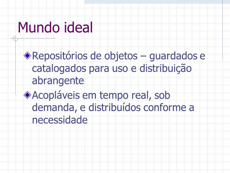 Mundo ideal Repositórios de objetos – guardados e catalogados para uso e distribuição abrangente Acopláveis em tempo real, sob demanda, e distribuídos
