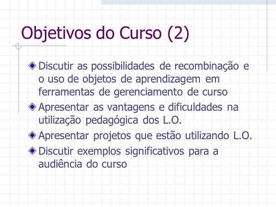 Objetivos do Curso (2) Discutir as possibilidades de recombinação e o uso de objetos de aprendizagem em ferramentas de gerenciamento de curso Apresent