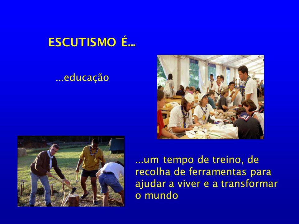 O Escutismo comporta duas missões: Ajudar a educar pessoas (p/ serem felizes) Melhorar o mundo que nos rodeia Dimensão Individual Dimensão Comunitária Necessidade de equilíbrio ou Individualismo, isolamento, egoísmo Ditadura do grupo, colectivismo, despersonalização