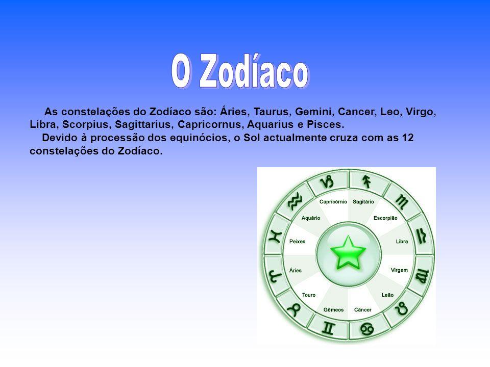 As constelações do Zodíaco são: Áries, Taurus, Gemini, Cancer, Leo, Virgo, Libra, Scorpius, Sagittarius, Capricornus, Aquarius e Pisces. Devido à proc