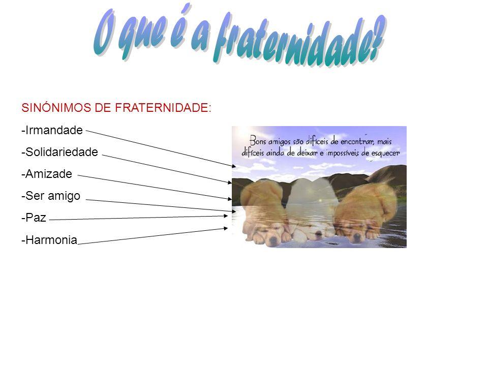 SINÓNIMOS DE FRATERNIDADE: -Irmandade -Solidariedade -Amizade -Ser amigo -Paz -Harmonia