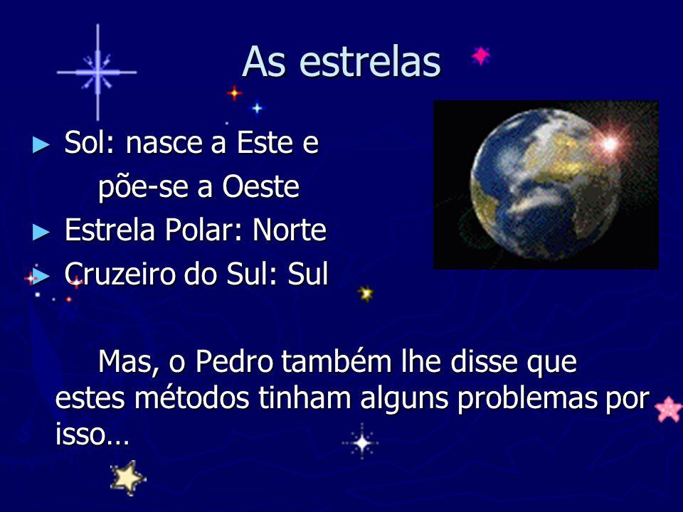 As estrelas Sol: nasce a Este e Sol: nasce a Este e põe-se a Oeste Estrela Polar: Norte Estrela Polar: Norte Cruzeiro do Sul: Sul Cruzeiro do Sul: Sul