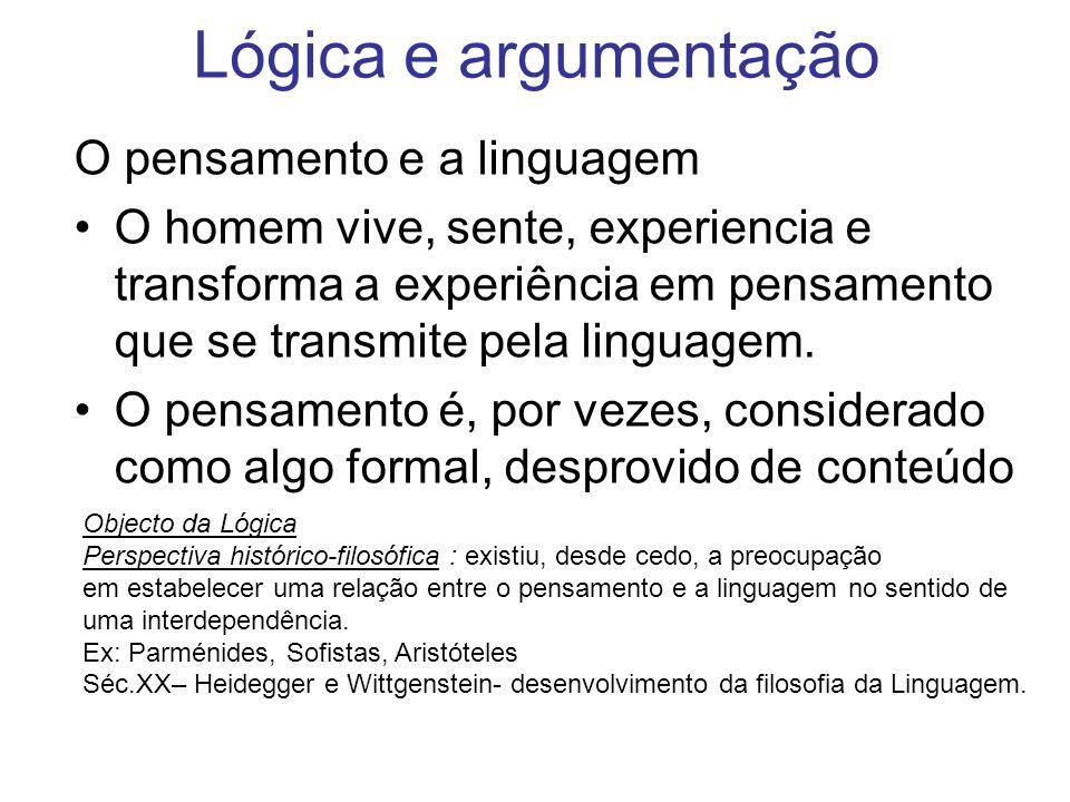 Lógica e argumentação O pensamento e a linguagem O homem vive, sente, experiencia e transforma a experiência em pensamento que se transmite pela lingu