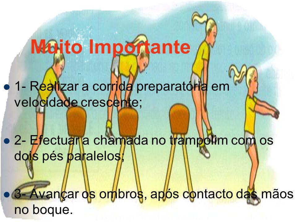 Muito Importante 1- Realizar a corrida preparatória em velocidade crescente; 2- Efectuar a chamada no trampolim com os dois pés paralelos; 3- Avançar