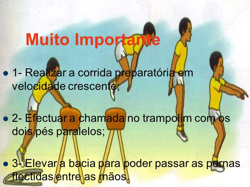 Muito Importante 1- Realizar a corrida preparatória em velocidade crescente; 2- Efectuar a chamada no trampolim com os dois pés paralelos; 3- Elevar a