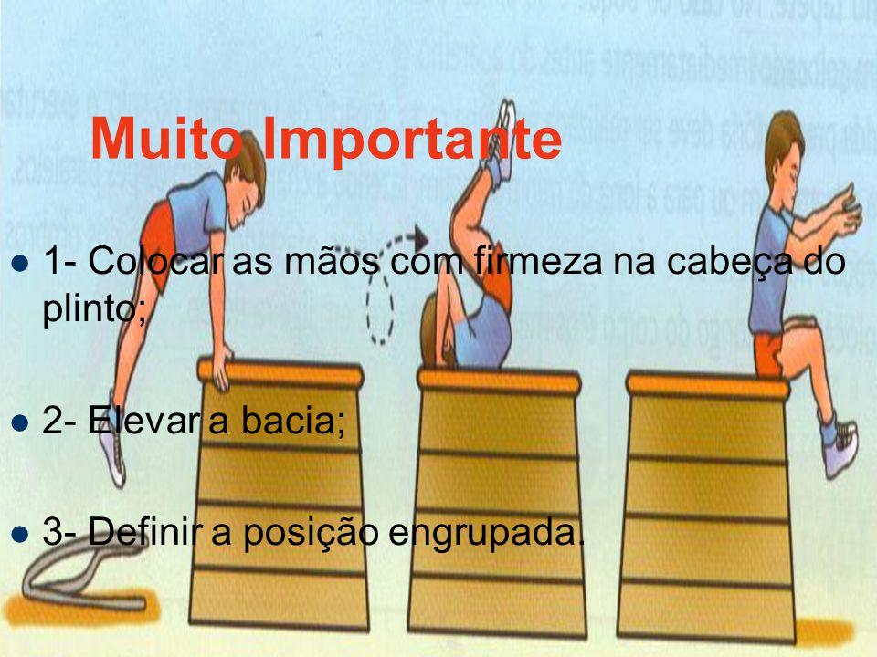 Muito Importante 1- Colocar as mãos com firmeza na cabeça do plinto; 2- Elevar a bacia; 3- Definir a posição engrupada.