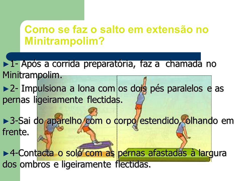 1- Após a corrida preparatória, faz a chamada no Minitrampolim. 1- Após a corrida preparatória, faz a chamada no Minitrampolim. 2- Impulsiona a lona c
