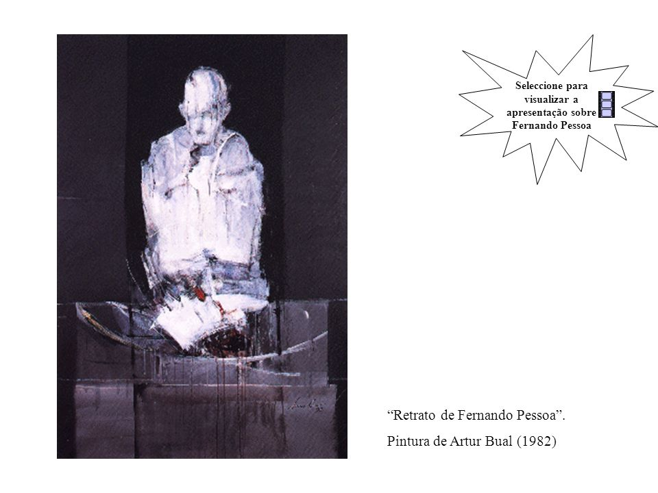 Retrato de Fernando Pessoa. Pintura de Artur Bual (1982) Seleccione para visualizar a apresentação sobre Fernando Pessoa