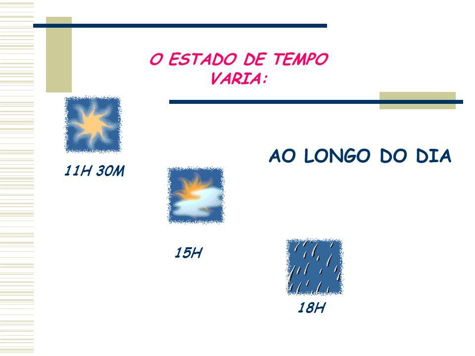 O ESTADO DE TEMPO VARIA: 11H 30M 15H 18H AO LONGO DO DIA