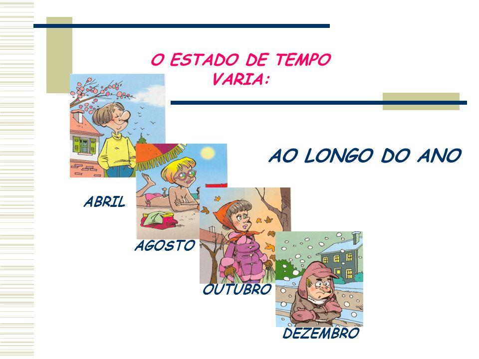 O ESTADO DE TEMPO VARIA: DE LOCAL PARA LOCAL O Estado de tempo para hoje!!!