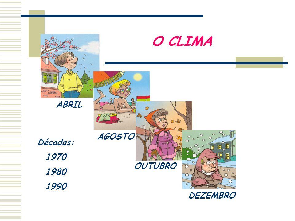 O CLIMA ABRIL AGOSTO OUTUBRO DEZEMBRO Décadas: 1970 1980 1990