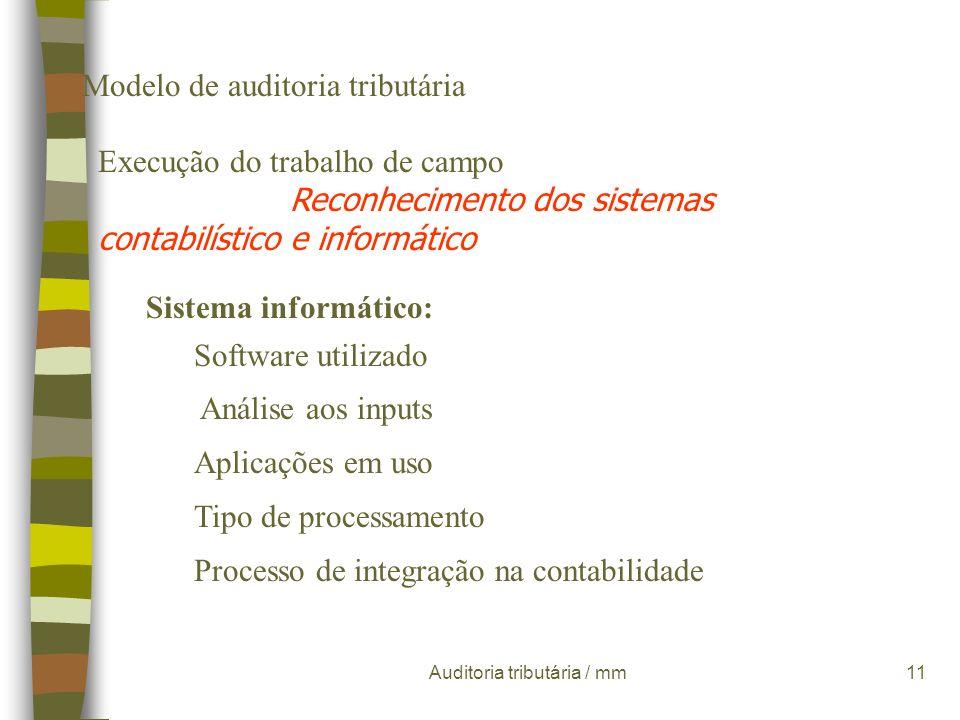 Auditoria tributária / mm10 Modelo de auditoria tributária Execução do trabalho de campo Reconhecimento dos sistemas contabilístico e informático Sist