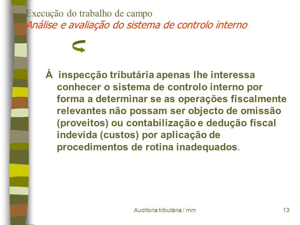 Auditoria tributária / mm12 Execução do trabalho de campo Análise e avaliação do sistema de controlo interno Compreende um conjunto de métodos e proce