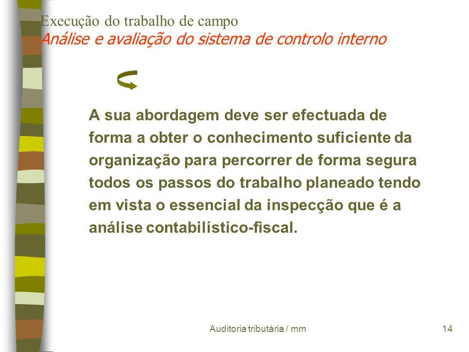 Auditoria tributária / mm13 Execução do trabalho de campo Análise e avaliação do sistema de controlo interno À inspecção tributária apenas lhe interes