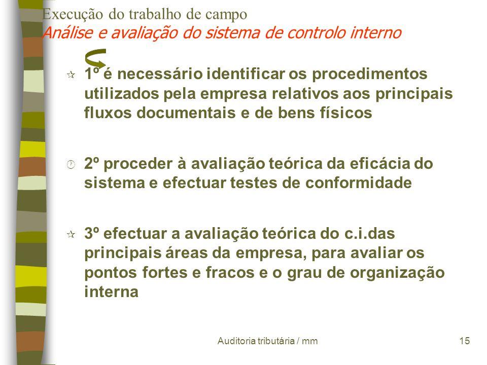 Auditoria tributária / mm14 Execução do trabalho de campo Análise e avaliação do sistema de controlo interno A sua abordagem deve ser efectuada de for