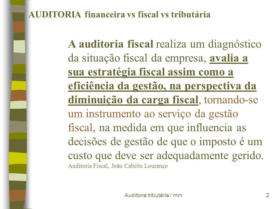 Auditoria tributária / mm1 AUDITORIA financeira vs fiscal vs tributária Segundo Manuel Soto Serrano a auditoria é o exame das demonstrações financeira