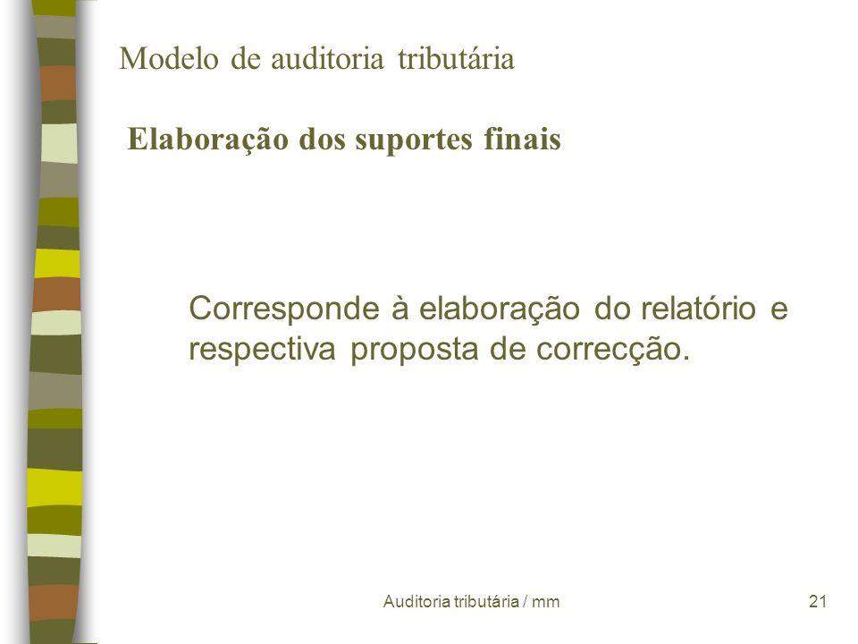 Auditoria tributária / mm20 Modelo de auditoria tributária Execução do trabalho de campo testes de coerência têm como objectivo a verificação da homog