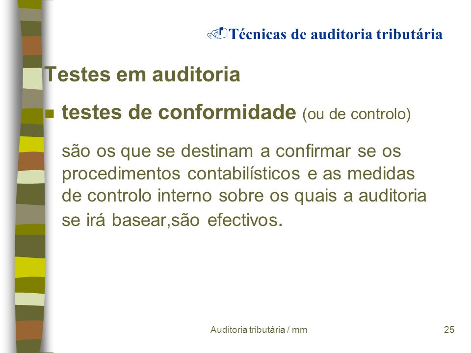 Auditoria tributária / mm24 Procedimentos:.