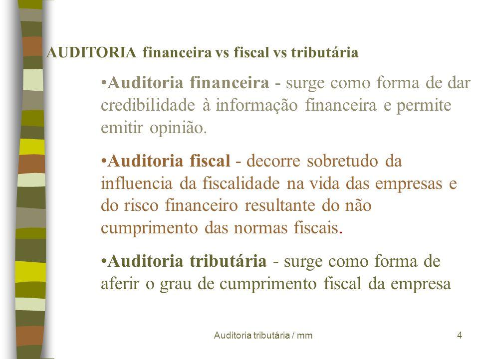 Auditoria tributária / mm4 AUDITORIA financeira vs fiscal vs tributária Auditoria financeira - surge como forma de dar credibilidade à informação financeira e permite emitir opinião.
