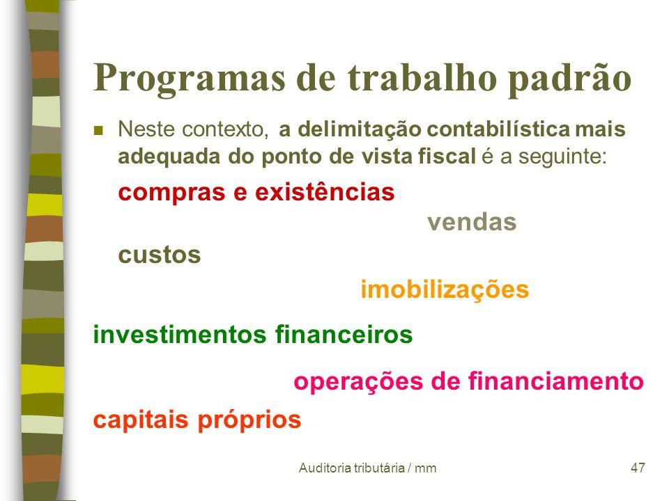 Auditoria tributária / mm46 Programas de trabalho padrão n A delimitação das áreas contabilístico-fiscais Para a execução de uma auditoria de um modo