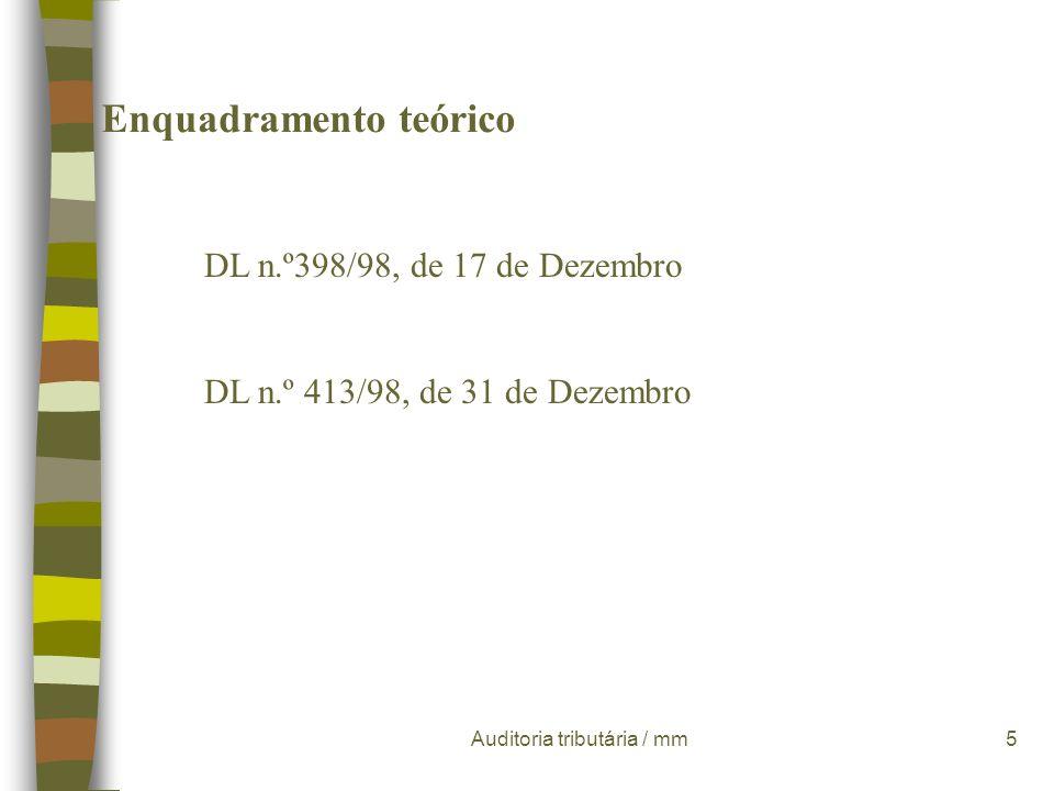 Auditoria tributária / mm45 Programas de trabalho padrão n A delimitação das áreas contabilístico-fiscais - n O enquadramento contabilístico n O enquadramento fiscal n Os objectivos de inspecção n Os procedimentos de auditoria