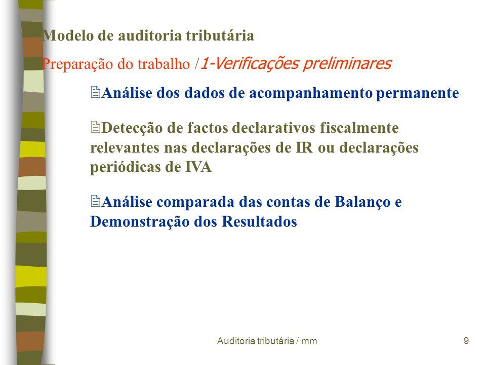Auditoria tributária / mm9 Modelo de auditoria tributária Preparação do trabalho / 1-Verificações preliminares 2Análise dos dados de acompanhamento permanente 2Detecção de factos declarativos fiscalmente relevantes nas declarações de IR ou declarações periódicas de IVA 2Análise comparada das contas de Balanço e Demonstração dos Resultados
