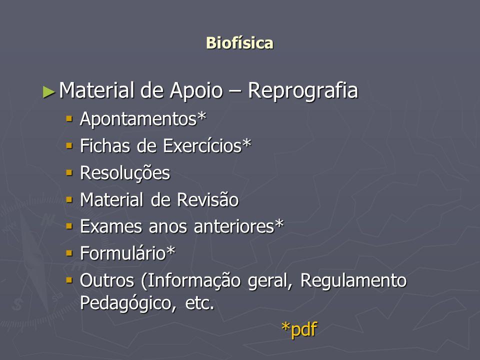 Biofísica Material de Apoio – Reprografia Material de Apoio – Reprografia Apontamentos* Apontamentos* Fichas de Exercícios* Fichas de Exercícios* Reso