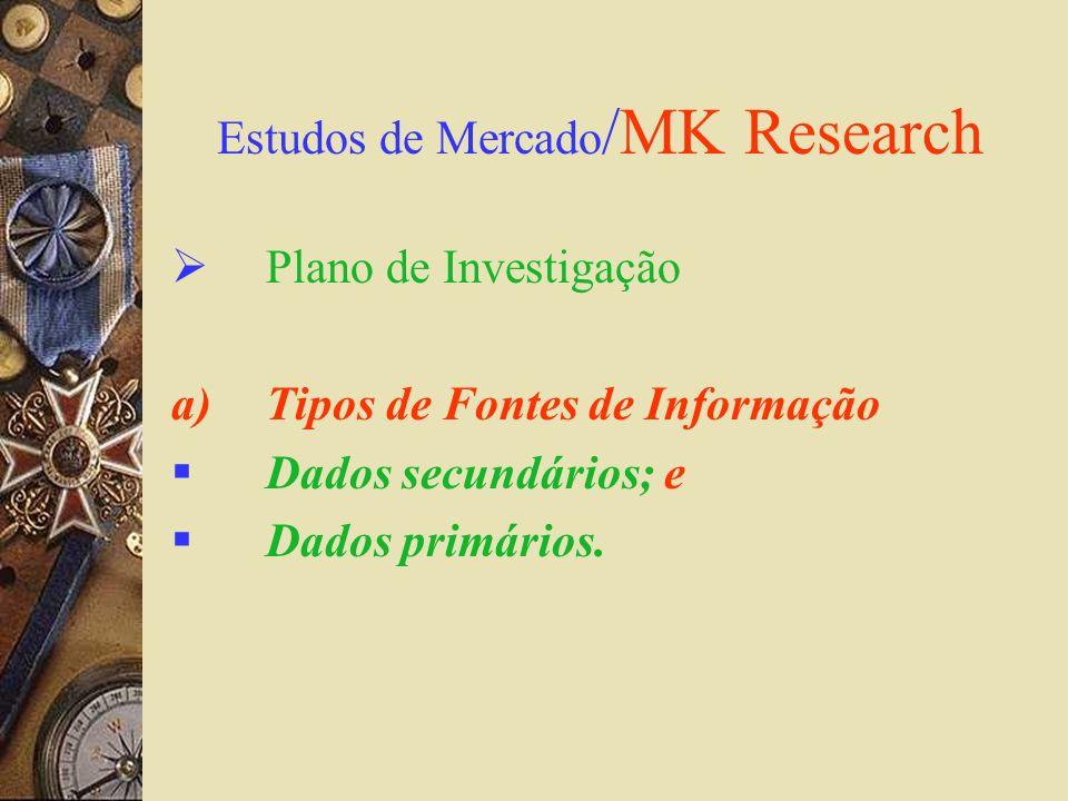 Estudos de Mercado /MK Research Plano de Investigação a)Tipos de Fontes de Informação Dados secundários; e Dados primários.