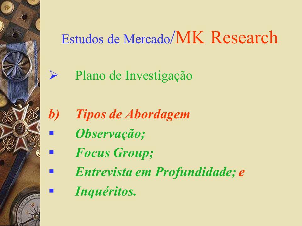 Estudos de Mercado /MK Research Plano de Investigação b)Tipos de Abordagem Observação; Focus Group; Entrevista em Profundidade; e Inquéritos.