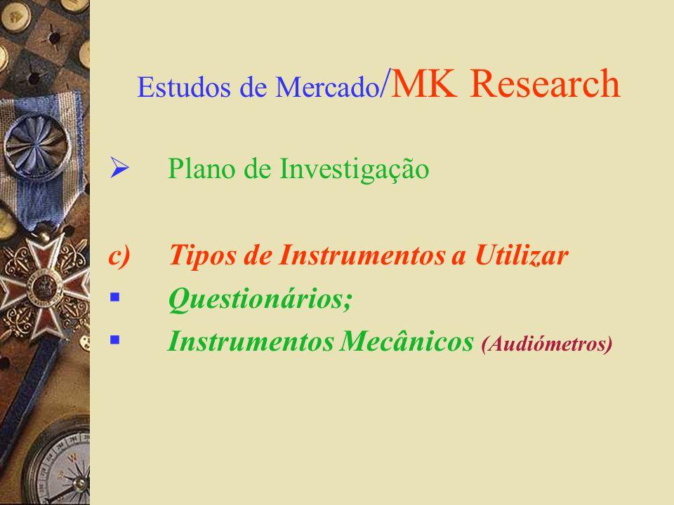 Estudos de Mercado /MK Research Plano de Investigação c)Tipos de Instrumentos a Utilizar Questionários; Instrumentos Mecânicos (Audiómetros)