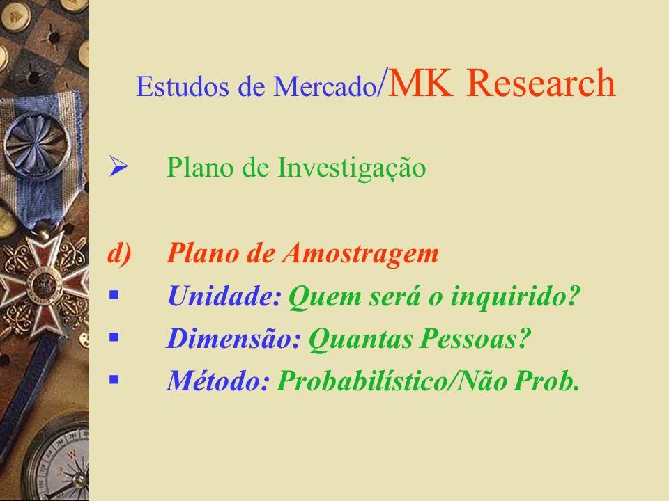 Estudos de Mercado /MK Research Plano de Investigação d)Plano de Amostragem Unidade: Quem será o inquirido? Dimensão: Quantas Pessoas? Método: Probabi