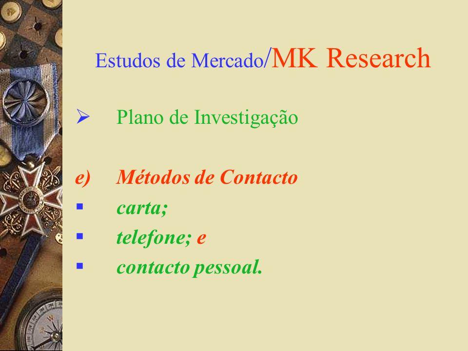 Estudos de Mercado /MK Research Plano de Investigação e)Métodos de Contacto carta; telefone; e contacto pessoal.