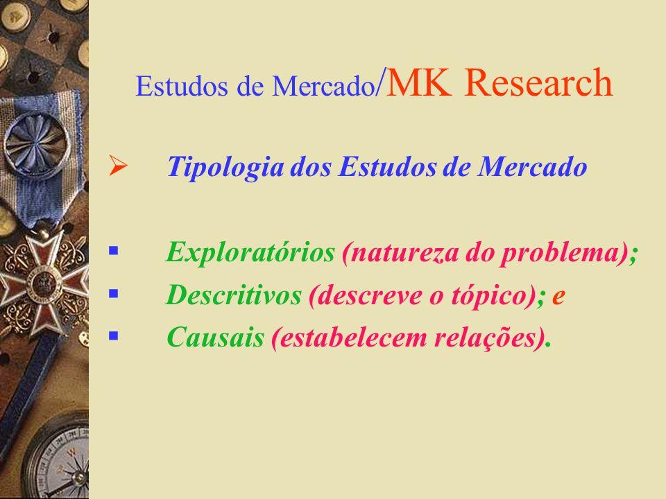 Estudos de Mercado /MK Research Tipologia dos Estudos de Mercado Exploratórios (natureza do problema); Descritivos (descreve o tópico); e Causais (est