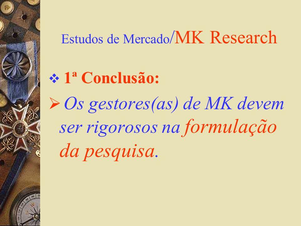 Estudos de Mercado /MK Research 1ª Conclusão: Os gestores(as) de MK devem ser rigorosos na formulação da pesquisa.