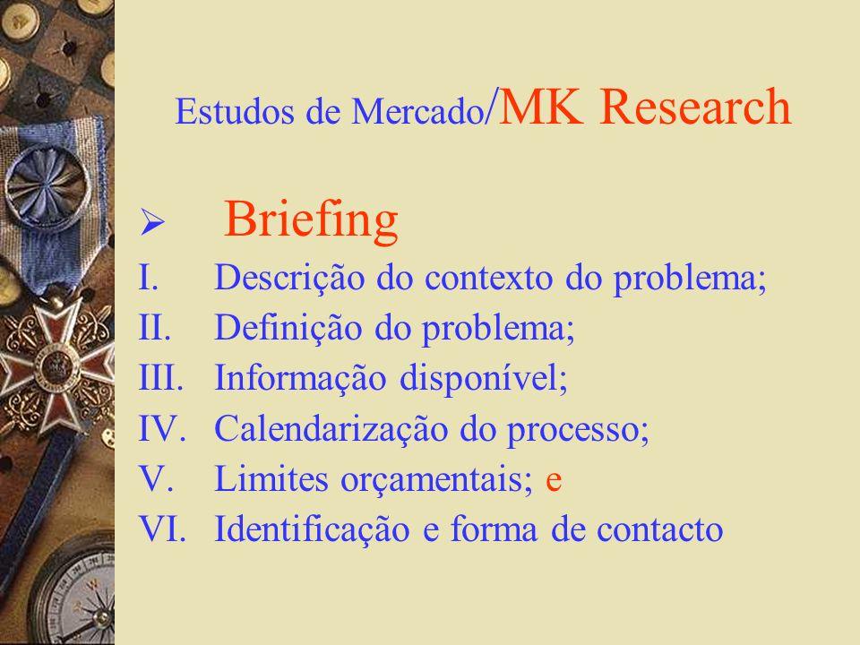Estudos de Mercado /MK Research Briefing I.Descrição do contexto do problema; II.Definição do problema; III.Informação disponível; IV.Calendarização d