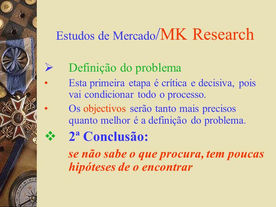 Estudos de Mercado /MK Research Definição do problema Esta primeira etapa é crítica e decisiva, pois vai condicionar todo o processo. Os objectivos se
