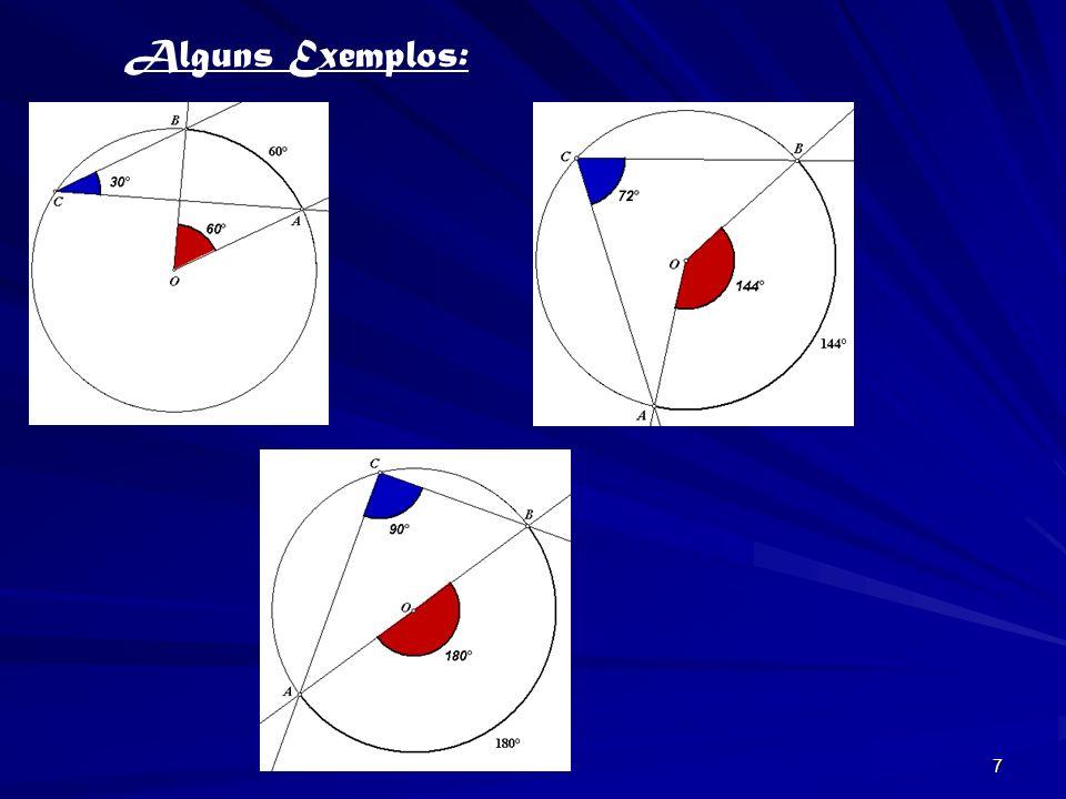 6 Amplitude do ângulo inscrito Amplitude do ângulo inscrito Na figura, [ABC] é um triângulo equilátero. Logo, O arco AB tem de amplitude 120º. Então,