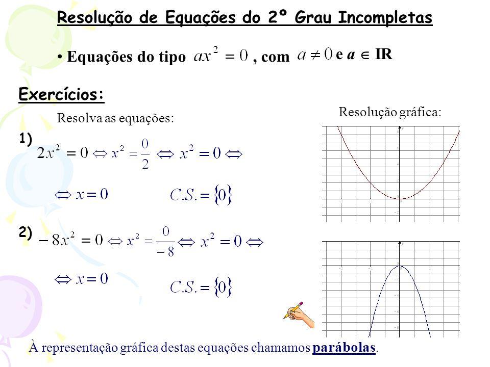 Resolução de Equações do 2º Grau Incompletas Equações do tipo, com Exercícios: Resolva as equações: 1) 2) Resolução gráfica: À representação gráfica d
