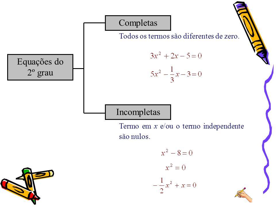 Termo em x e/ou o termo independente são nulos. Equações do 2º grau Completas Incompletas Todos os termos são diferentes de zero.