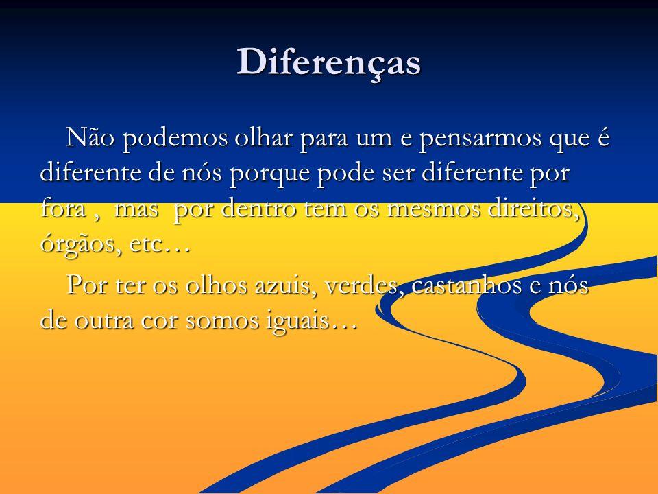 Diferenças Não podemos olhar para um e pensarmos que é diferente de nós porque pode ser diferente por fora, mas por dentro tem os mesmos direitos, órg