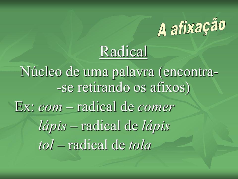 Radical Núcleo de uma palavra (encontra- -se retirando os afixos) Ex: com – radical de comer lápis – radical de lápis tol – radical de tola