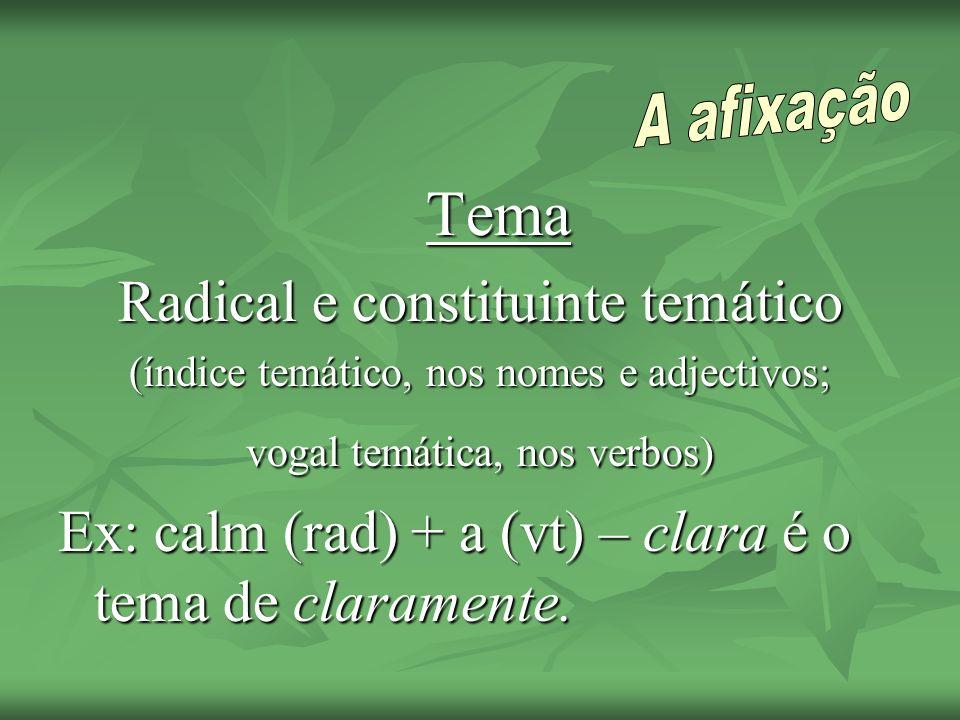 Tema Radical e constituinte temático (índice temático, nos nomes e adjectivos; vogal temática, nos verbos) Ex: calm (rad) + a (vt) – clara é o tema de