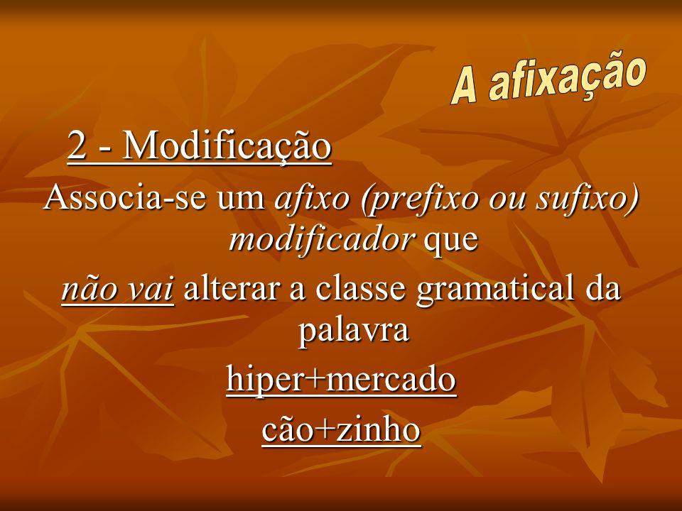 2 - Modificação Associa-se um afixo (prefixo ou sufixo) modificador que não vai alterar a classe gramatical da palavra hiper+mercadocão+zinho
