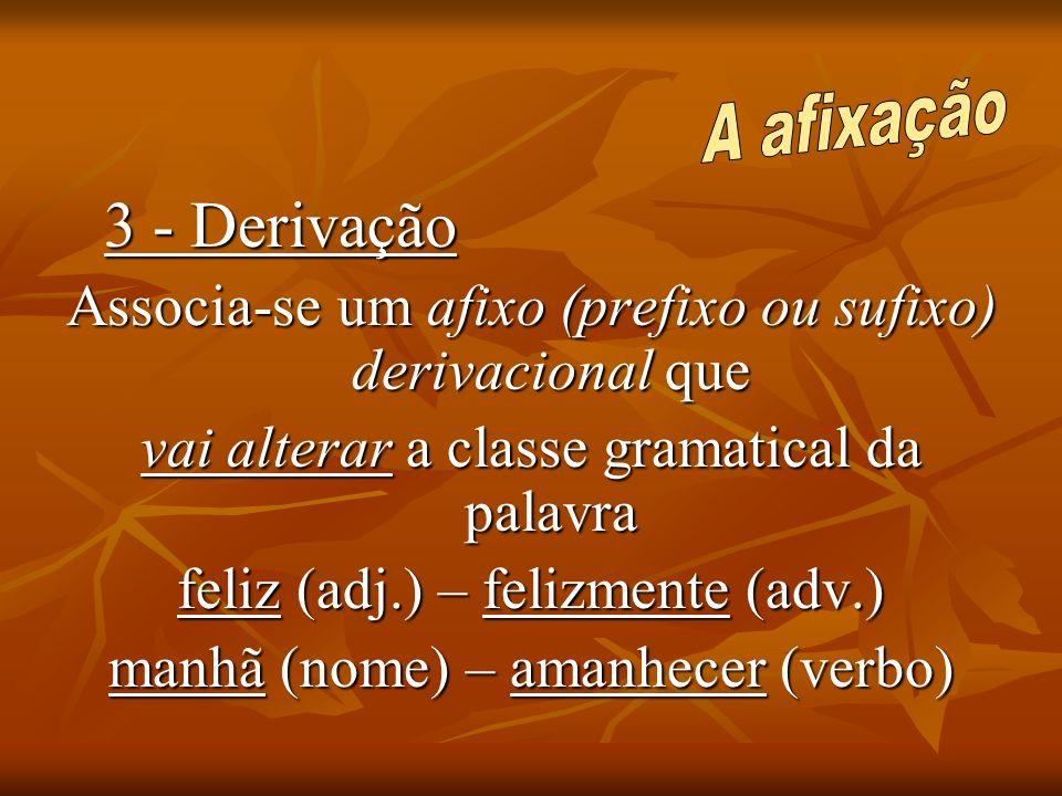 3 - Derivação Associa-se um afixo (prefixo ou sufixo) derivacional que vai alterar a classe gramatical da palavra feliz (adj.) – felizmente (adv.) man