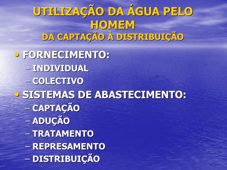 SISTEMA DE ABASTECIMENTO CAPTAÇÃO CAPTAÇÃO –RECOLHA DE ÁGUA (CHUVA, RIOS, LAGOS, FONTES OU POÇOS) –RECOLHA DE ÁGUA (CHUVA, RIOS, LAGOS, FONTES OU SUBSOLO - POÇOS) ADUÇÃO ADUÇÃO –CONDUÇÃO DESDE A CAP- TAÇÃO ATÉ À COMUNIDADE TRATAMENTO TRATAMENTO –ELIMINAR IMPUREZAS E/ OU CORRIGIR IMPROPRIE- DADES QUE A TORNAM INADEQUADA
