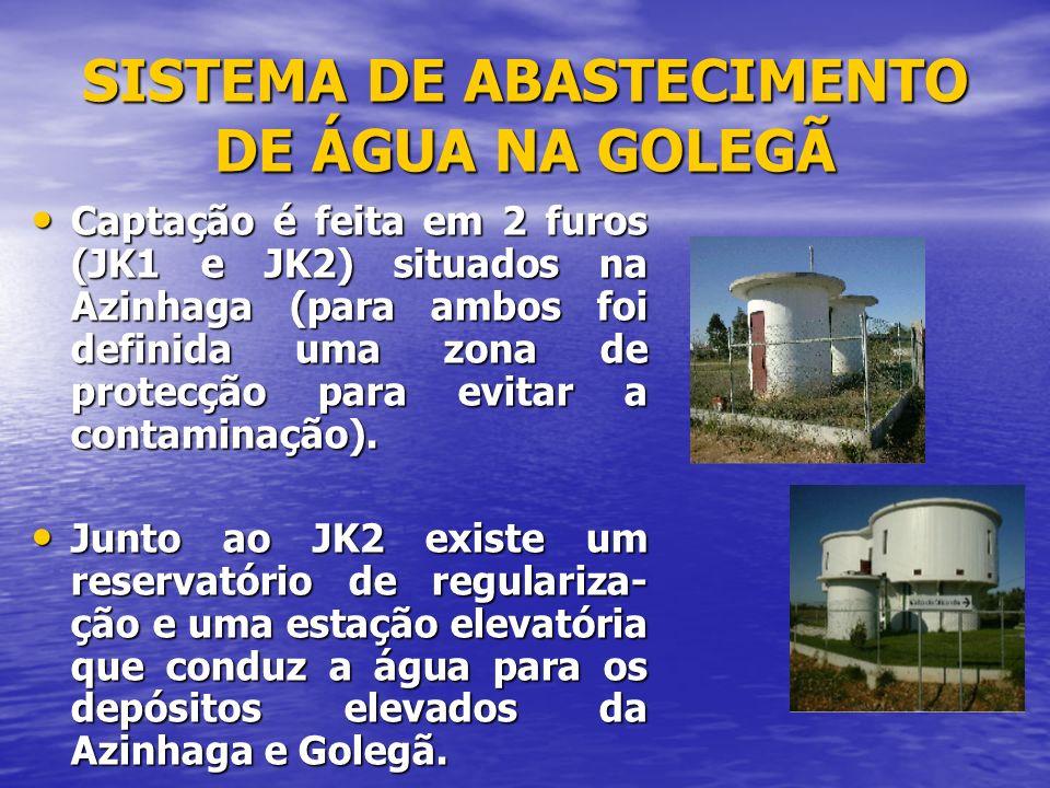 SISTEMA DE ABASTECIMENTO DE ÁGUA NA GOLEGÃ A água chega à Golegã através duma adutora de 200 mm de diâme- tro.