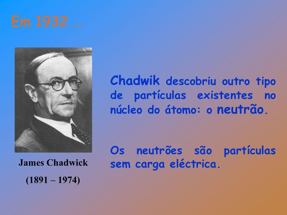 James Chadwick (1891 – 1974) Em 1932 … Chadwik descobriu outro tipo de partículas existentes no núcleo do átomo: o neutrão. Os neutrões são partículas