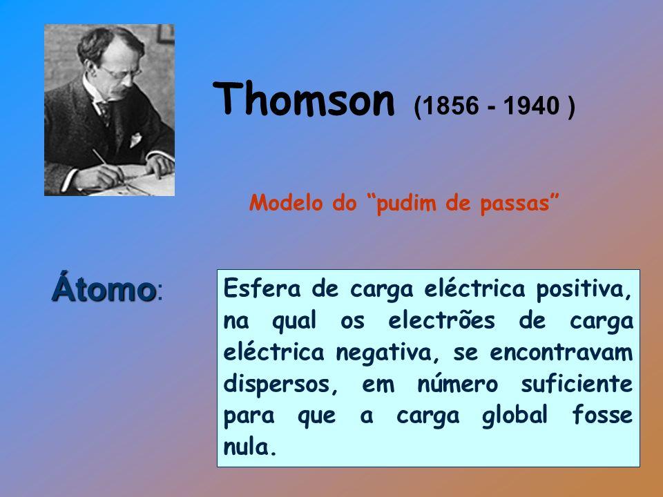 Átomo Átomo : Esfera de carga eléctrica positiva, na qual os electrões de carga eléctrica negativa, se encontravam dispersos, em número suficiente par