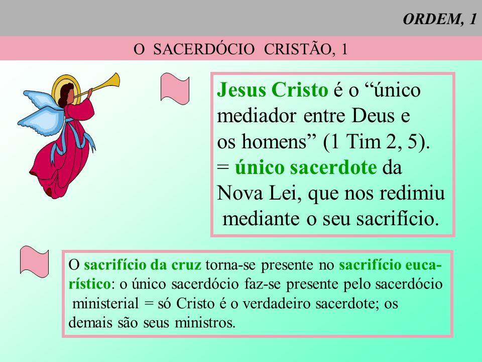ORDEM, 1 O SACERDÓCIO CRISTÃO, 1 Jesus Cristo é o único mediador entre Deus e os homens (1 Tim 2, 5). = único sacerdote da Nova Lei, que nos redimiu m